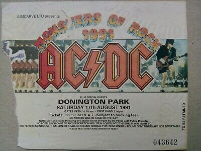 Monsters Of Rock 1991 ACDC Used Concert Ticket Donington Park • 1.20£