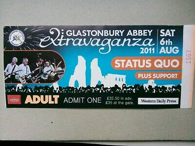 Status Quo Used Concert Ticket Glastonbury Abbey Extravaganza Sat 6th Aug 2011 • 0.99£