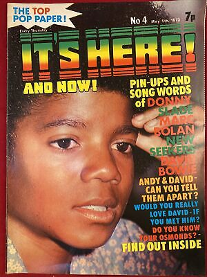 IT'S HERE AND NOW! 1973 MAGAZINE No.4-DAVID BOWIE MARC BOLAN DAVID CASSIDY SLADE • 7.99£
