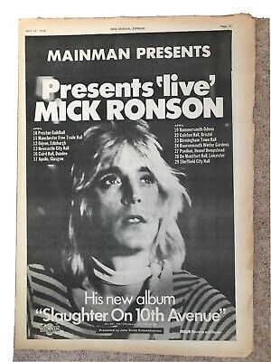 MICK RONSON 1974 A3 Ad From NME Post Ziggy • 2.50£