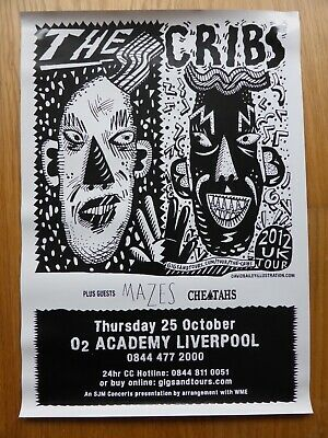 THE CRIBS - Official Concert Poster O2 Academy Liverpool 25th October 2015 - NEW • 1.99£
