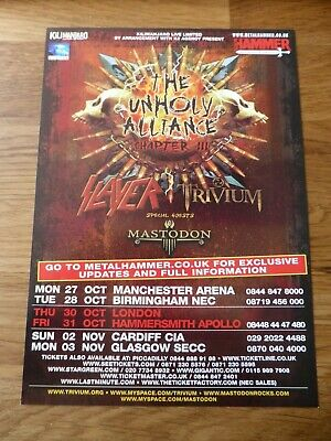 SLAYER - Unholy Alliance UK Tour Flyer 2008 - With Trivium & Mastodon - NEW • 1.99£