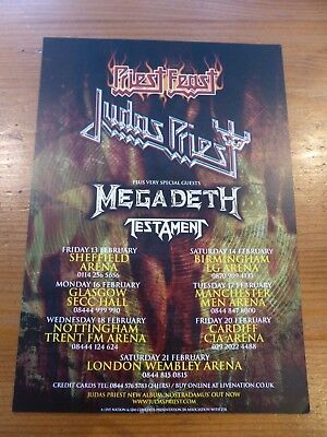 JUDAS PRIEST / MEGADETH / TESTAMENT Official Flyer UK Tour 2007 Dbl-sided - NEW • 1.99£