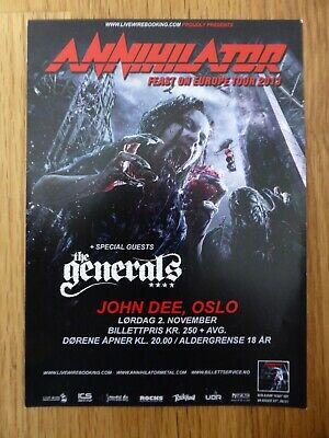 ANNIHILATOR - Original Flyer  Feast On Europe  Tour - Oslo, Norway 2013 - NEW • 0.99£