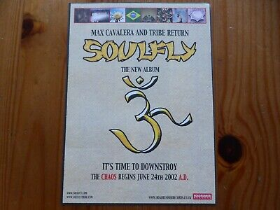 SOULFLY - Official UK Release Sticker  3  Album - 2002 - Sepultura Killswitch • 1.99£
