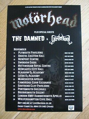 MOTORHEAD Original UK Tour Flyer November 2009 With The Damned & Girlschool -NEW • 1.99£
