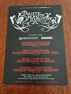 BULLET FOR MY VALENTINE / 36 CRAZYFISTS / SKINDRED - Rare UK Tour Flyer 2008 • 0.99£
