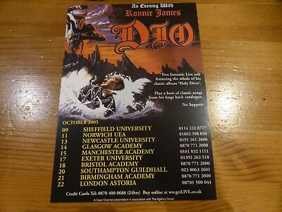 RONNIE JAMES DIO - Rare UK Tour Flyer 2005 - Holy Diver Tour - Black Sabbath • 1.99£