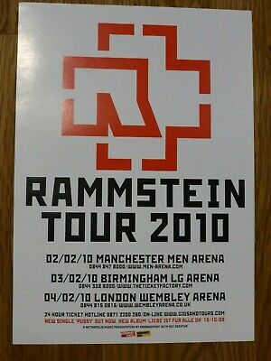 RAMMSTEIN - Original UK Tour Flyer February 2010 - Manchester Birmingham London • 1.99£