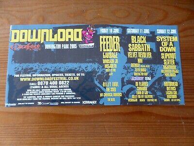 DOWNLOAD FEST 2005 Original Flyer Black Sabbath SYSTEM OF A DOWN Slayer SLIPKNOT • 1.99£