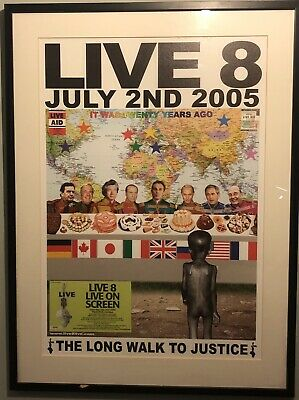 Live 8 2005 Framed Poster And Ticket • 3.70£