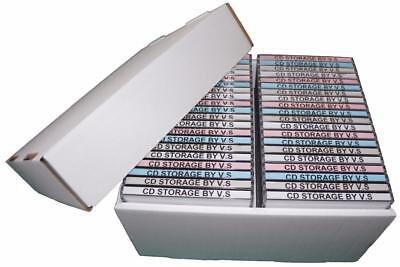 CD Storage Box Case Unit Organiser INCLUDING Lid **2 Pack Deal** Holds 40 Cd's • 14.99£