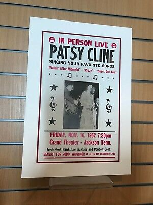 Vintage Concert Poster Patsy Cline 1962 Mounted • 35£