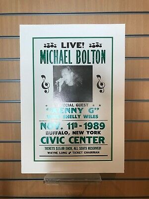 Vintage Concert Poster Michael Bolton Special Guest Kenny G Mounted • 35£