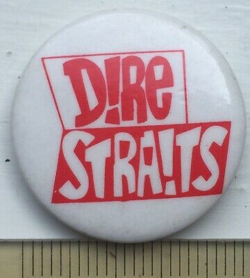 Vtg Og 1980s Dire Straits Logo 25mm Pin Badge Twisting By The Pool Music Band • 3.75£