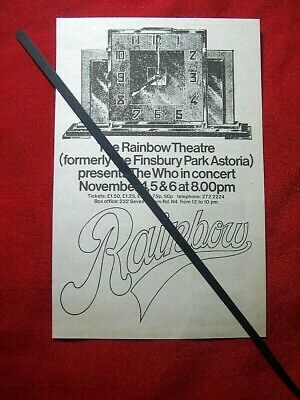 The Who Original 1971 Vintage Gig Concert Advert Rainbow London • 5.99£