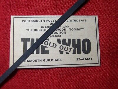 The Who Original 1974 Vintage Gig Concert Advert Portsmouth Guildhall • 5.99£