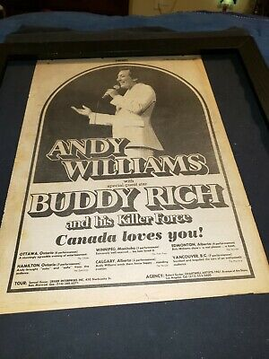 Andy Williams And Buddy Rich Rare Canadian Tour Promo Poster Ad Framed! • 116.89£