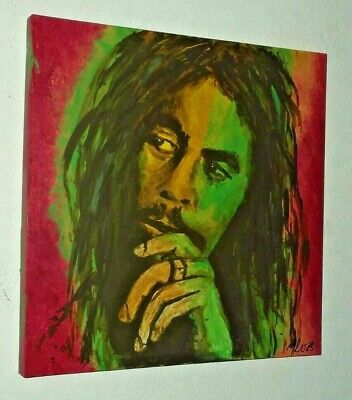 Bob Marley .large Hand Painted Canvas Painting  .20 X 20 Ins • 24.99£