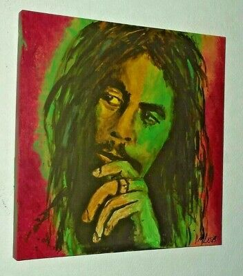 Bob Marley .large Hand Painted Canvas Painting  .20 X 20 Ins  Reggae • 19.99£