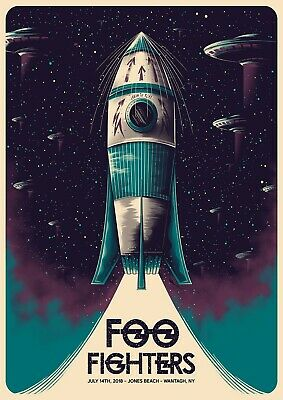 Reproduction  Foo Fighters - Jones Beach ,  Poster, Grunge, Size A4 • 8£