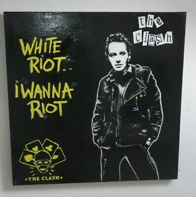 The Clash, Joe Strummer. Large Hand Painted.canvas..30 X 30 Ins.punk • 39.99£