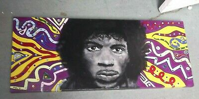 Jimi Hendrix..painting.. Hand Painted  Large Canvas Ready To Hang  40 X 16 Ins,, • 69.99£