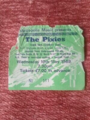 The Pixies (1989) Early/rare UK Concert Ticket, London • 7£