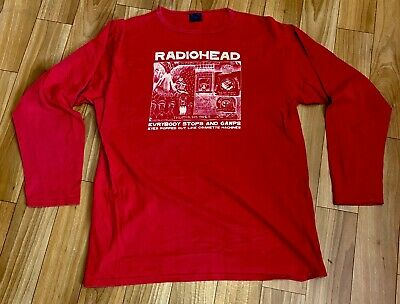 Radiohead W.A.S.T.E. 'Gawp' Long Sleeve Red T-Shirt, Size XL, New / Like New • 90£