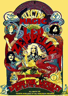 Reproduction Led Zeppelin Concert Poster,  Empire Pool - Wembley , Home Wall Art • 12£