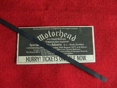 Motorhead Original 1977 Vintage Gig Concert Advert The Lyceum London • 5.99£
