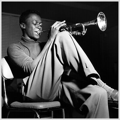 Reproduction  Miles Davis - Black & White  Poster, Jazz, Size: 16  X 16  • 12£