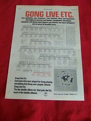 Gong Original 1977 Vintage Music Press Poster Advert Live Album Family Tree • 12.99£
