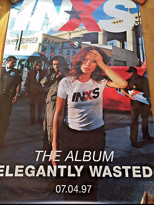 INXS ELEGANTLY WASTED HUGE PROMO FLY POSTER  60 X 40 INCHES LIKE NEW  • 25£