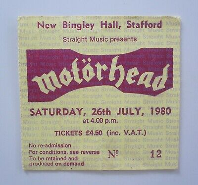Motorhead New Bingley Hall Stafford UK 1980 Concert Ticket Stub 26.7.80 • 30£