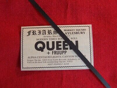 Rare Queen Original 1974 Vintage Gig Concert Advert Friars Aylesbury Uk  • 9.99£