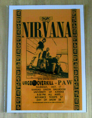 Nirvana : Kansas Union Ballroom Oct 17th  : A4 Glossy Repo Poster • 3.99£