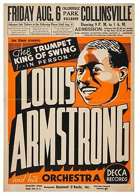 Reproduction Jazz Poster,  Louis Armstrong , Home Wall Art, Size A2 • 13.50£