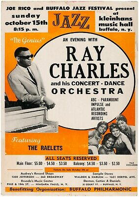 Reproduction Jazz Poster,  Ray Charles , Home Wall Art, Size A2 • 12£