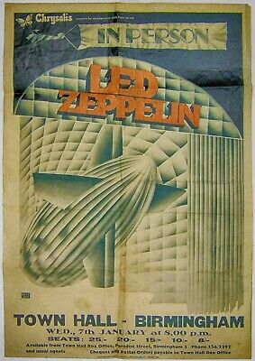 Reproduction Led Zeppelin Concert Poster,  Town Hall Birmingham , Home Wall Art • 12£