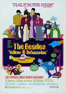 Reproduction The Beatles Poster, Yellow Submarine, Vintage Print, Home Wall Art • 12£