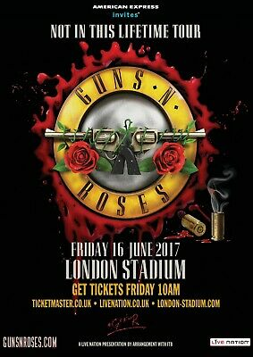 Reproduction Guns N Roses Poster,  London Stadiuim , Home Wall Art • 12£