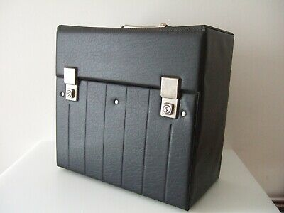 Vintage Black Vinyl LP Record Carry Case Large Excellent +Keys • 12£