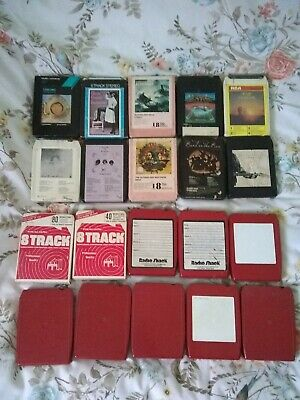 JOB LOT OF 40 X 8 TRACK CARTRIDGE TAPES OF VARIOUS GENRES + BLANKS (NOT TESTED) • 25.99£