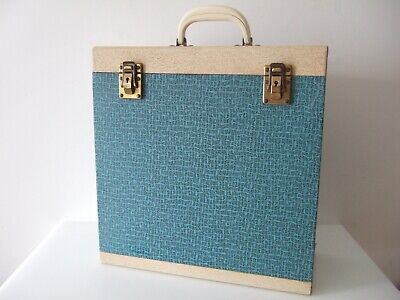 Vintage Winel Vinyl LP Record Carrying Case Blue / Cream Excellent • 36£