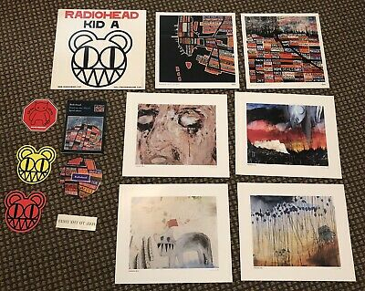 Radiohead Lithograph & Sticker Lot - Hail To The Thief Kid A Stanley Donwood • 169.65£