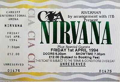 Nirvana Rare 1994 Cancelled Concert Ticket - Mint Condition • 100£