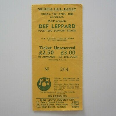 Def Leppard Victoria Hall Hanley UK 1980 Concert Ticket Stub 11.4.80 • 29£
