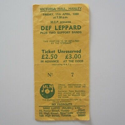 Def Leppard Victoria Hall Hanley UK 11th April 1980 Concert Ticket Stub  • 29£
