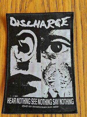 Discharge. Hear Nothing, See Nothing, Say Nothing. Embroidered Patch. Punk. • 5.50£